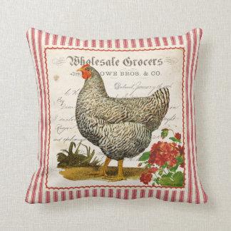 Almohada negra y blanca roja adorable del pollo
