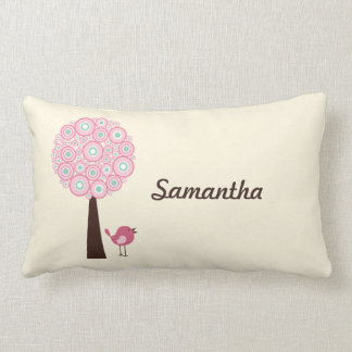 Almohada personalizada árbol retro rosado
