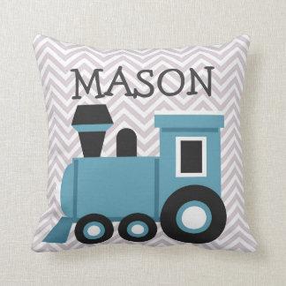 Almohada personalizada tren azul de los muchachos