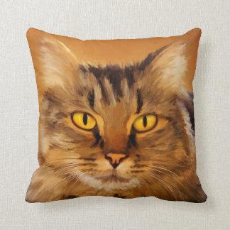Almohada pintada adorable del gato de Tabby