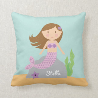 Almohada púrpura de la sirena y de las estrellas