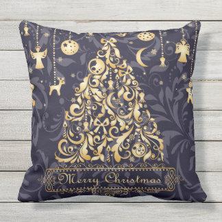 Almohada púrpura y de oro hermosa del navidad