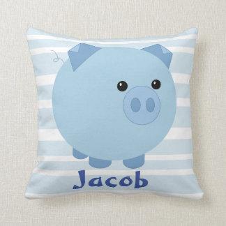 Almohada rechoncha azul linda del cerdo