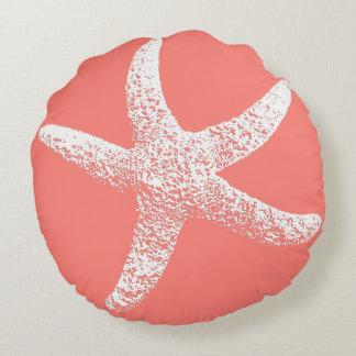 Almohada redonda de las estrellas de mar rosadas y