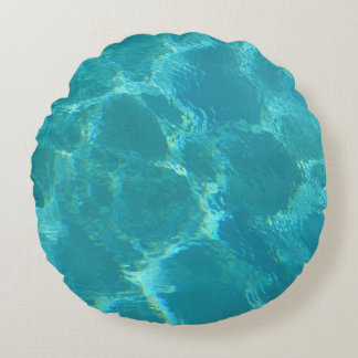 Almohada redonda del acento del agua de azules