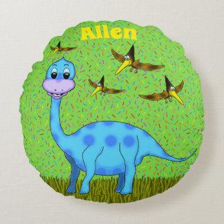 Almohada redonda del dinosaurio feliz