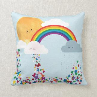 Almohada reversible, nubes Sun, luna, arco iris,