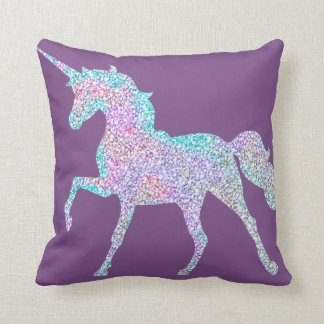 Almohada reversible púrpura del unicornio