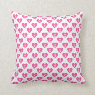 Almohada rosada de la cinta del corazón