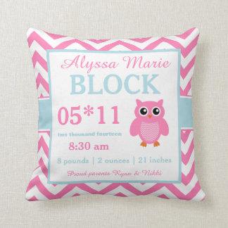 Almohada rosada de la invitación del bebé azul del
