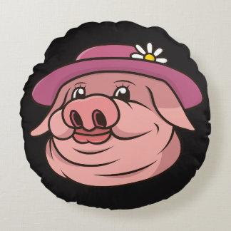 Almohada rosada del negro del cerdo