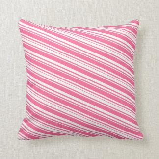Almohada rosada y blanca del vintage de las rayas