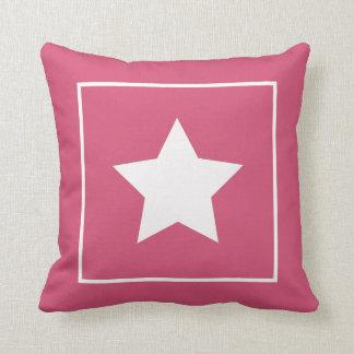 Almohada rosada y blanca patriótica de la estrella