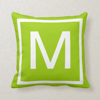 Almohada sólida de la verde lima del MONOGRAMA