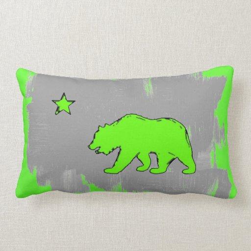 Almohada verde de neón de la decoración del oso de