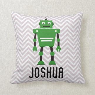 Almohada verde personalizada del robot de los