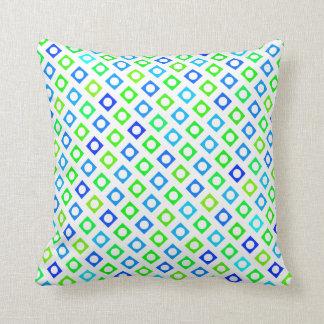 Almohada verde y azul del cuadrado del círculo
