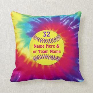 Almohadas de tiro lindas del softball del teñido