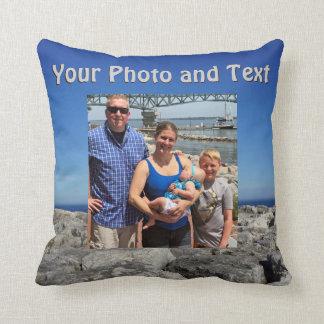 Almohadas de tiro personalizadas, su foto y texto
