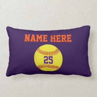 Almohadas personalizadas del softball, su texto,