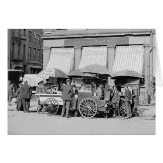 Almuerzo Carts 1906 de New York City Tarjeta