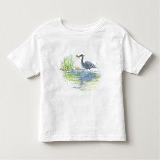 Almuerzo de la garza - lápiz de la acuarela camiseta de bebé
