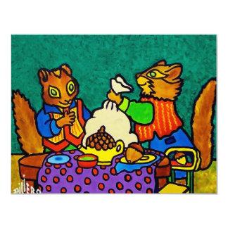 Almuerzo de las ardillas por Piliero Invitación 10,8 X 13,9 Cm