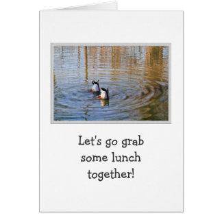 Almuerzo del pato tarjeta de felicitación