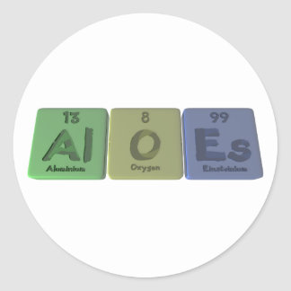 Áloe-Al-o-Es-aluminio-oxígeno-Einsteinio Etiqueta