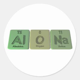 Alona como sodio de aluminio del oxígeno etiqueta redonda