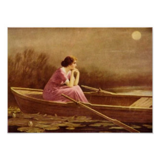 ALONE/Lady en un arte del barco/del vintage