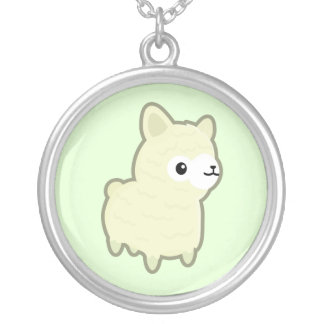 Alpaca de Kawaii Collar Plateado