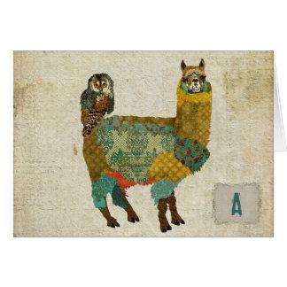 Alpaca del oro y búho Notecard del trullo Felicitacion