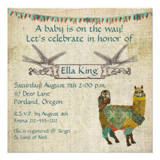 Alpaca del oro y invitación del bebé del búho del