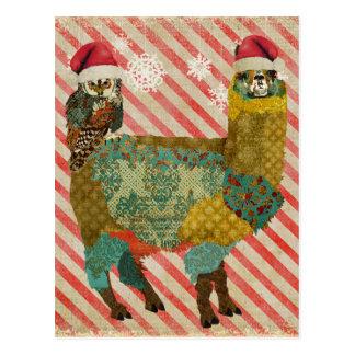Alpaca del oro y postal del navidad del búho del t