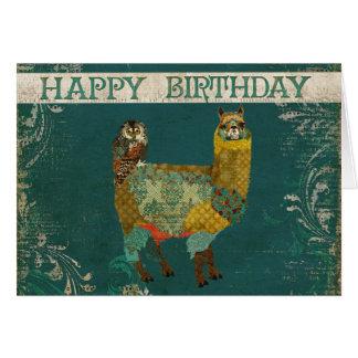 Alpaca del oro y tarjeta de cumpleaños del búho