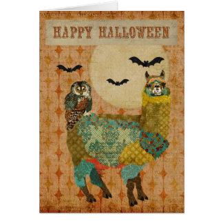 Alpaca del oro y tarjeta de Halloween del búho del