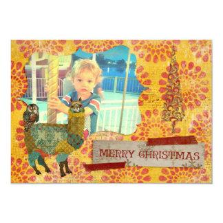Alpaca del oro y tarjeta de la foto del navidad invitación 12,7 x 17,8 cm