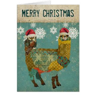 Alpaca del oro y tarjeta de Navidad del búho