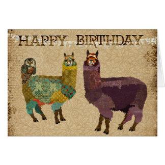 Alpacas y tarjeta de cumpleaños del búho del trull