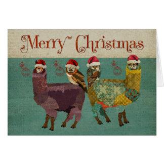 Alpacas y tarjeta de Navidad azul de los búhos