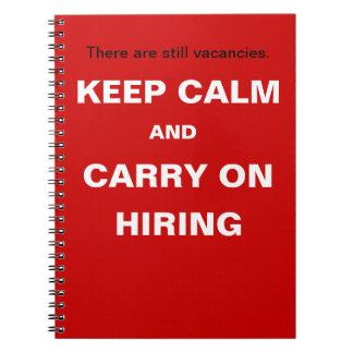 Alquiler y reclutamiento - guarde el lema divertid libros de apuntes con espiral