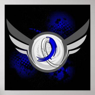 ALS azul y blanco de la cinta y de las alas Poster
