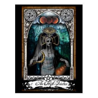 Alta postal de la carta de tarot de la sacerdotisa
