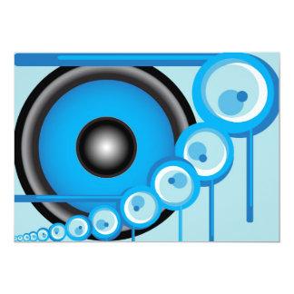 Altavoz azul invitación 12,7 x 17,8 cm