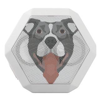 Altavoz Blanco Con Bluetooth Perro Pitbull sonriente del ilustracion