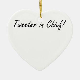 Altavoz de agudos en jefe adorno navideño de cerámica en forma de corazón
