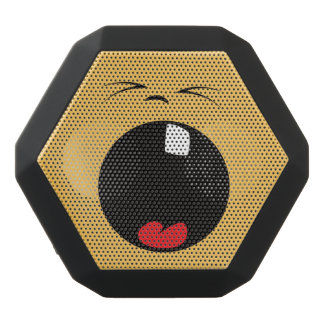 Altavoz Negro Con Bluetooth Cara sonriente divertida. Emoji. Emoticon.
