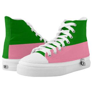 Alto-Top verde y rosado de Zipz del Dos-Tono