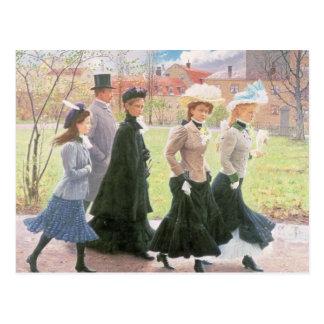 Alumnos femeninos para la confirmación postal